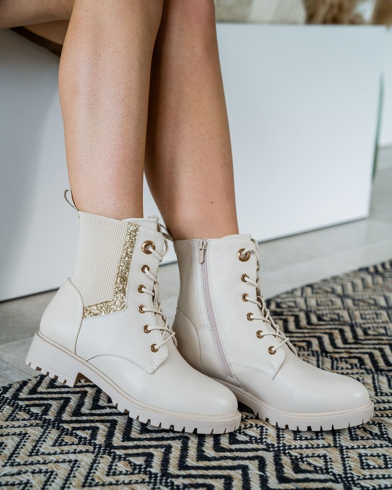 Beige Glitter Boots