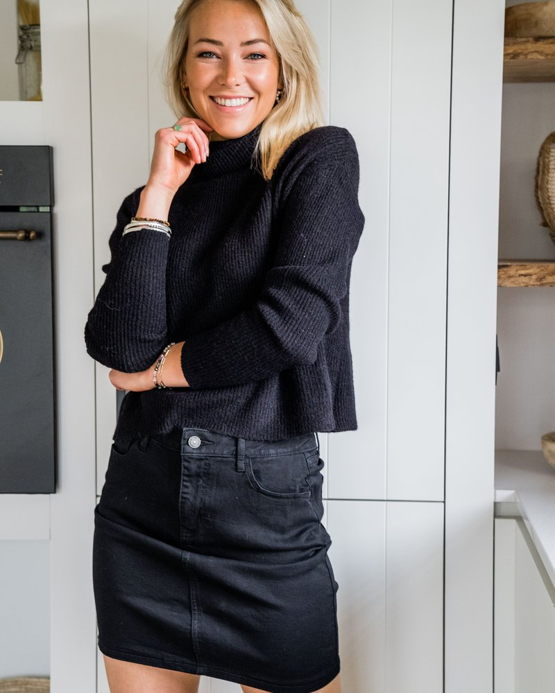 Collar Crop Sweater Black