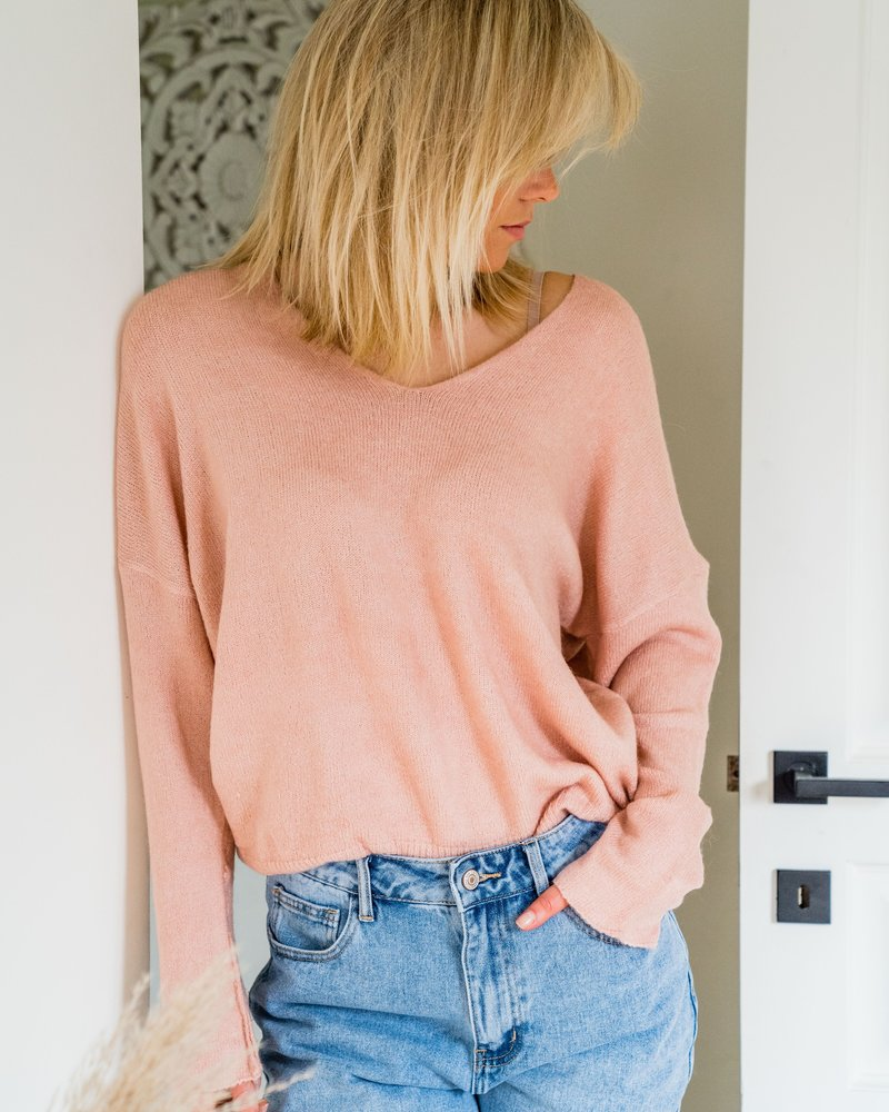Lily V-Sweater Rose