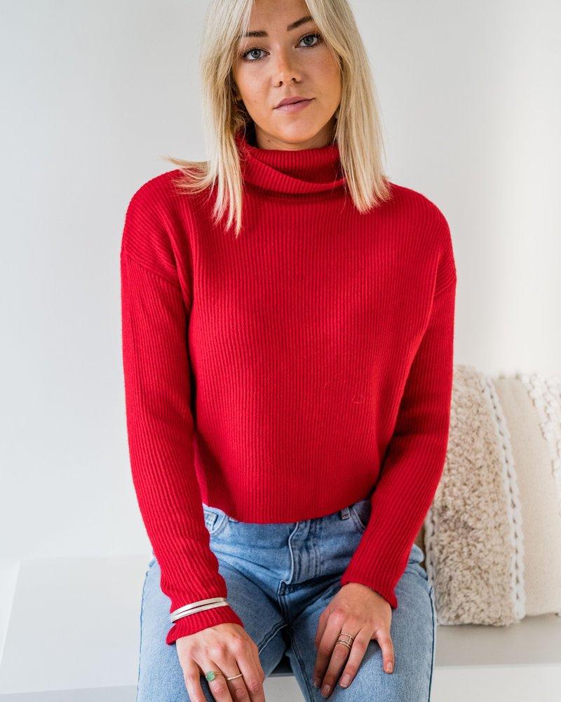 Collar Crop Sweater Red