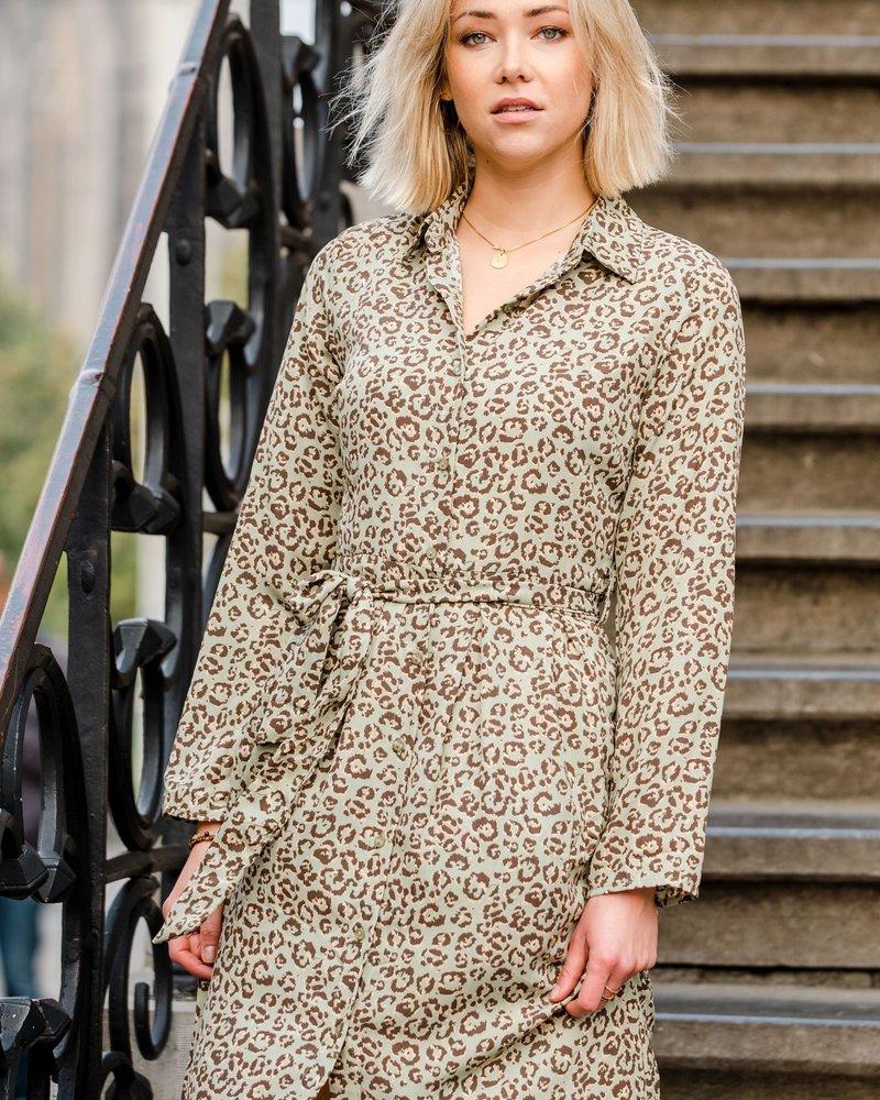 Leopard Maxi Dress Kaki