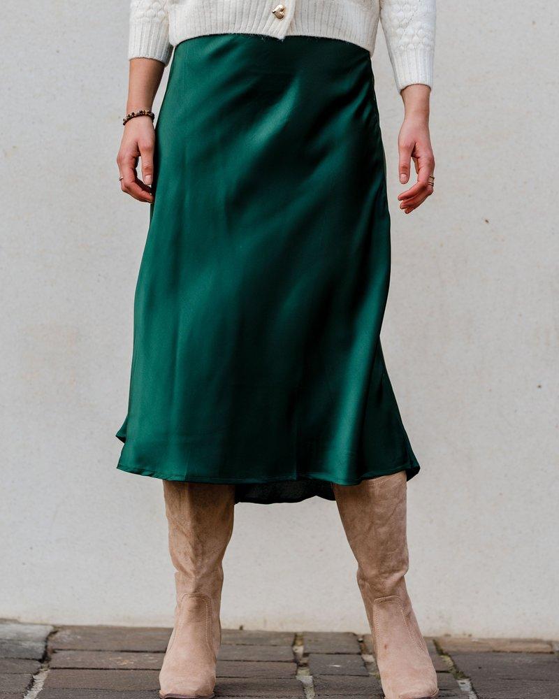 Lena Satin Skirt Vert