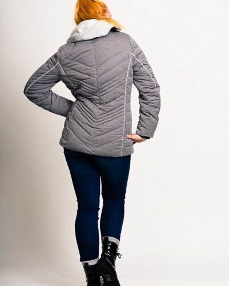 A N G E B O T   !!!   BlarS Damen Winterjacke aus Jersey in grau mit Kapuze