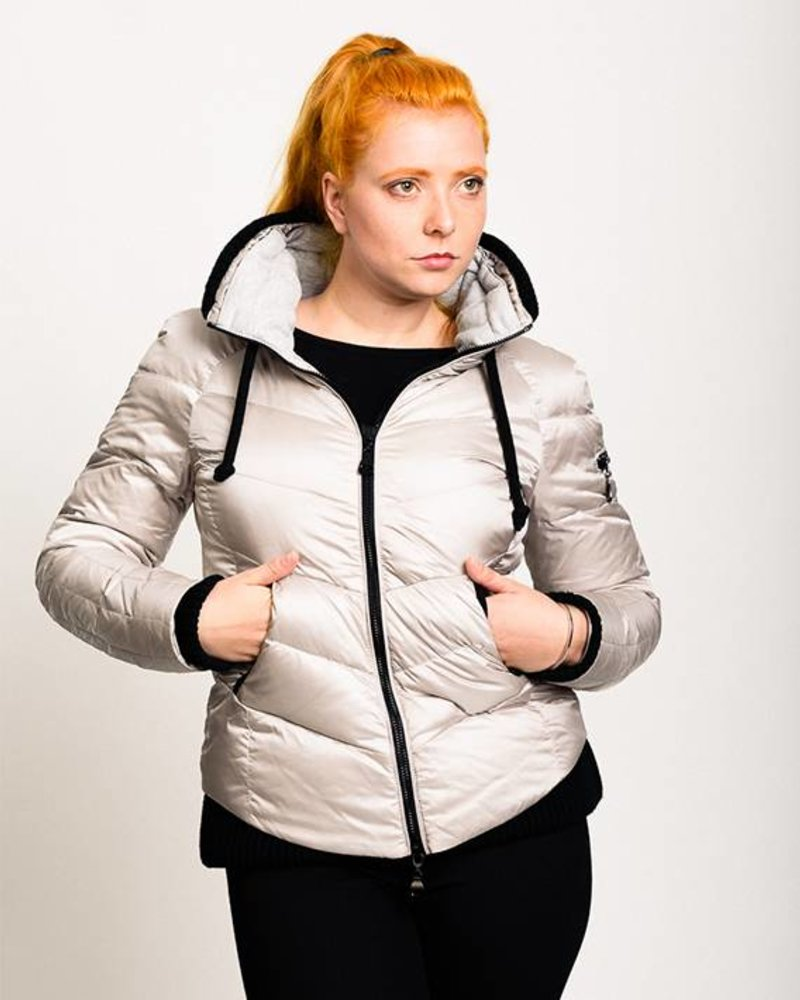 BlarS Women down jacket in silver white with hood