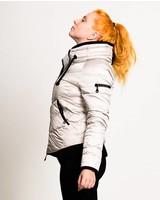 Damen Daunen-Jacke in silber-weiß