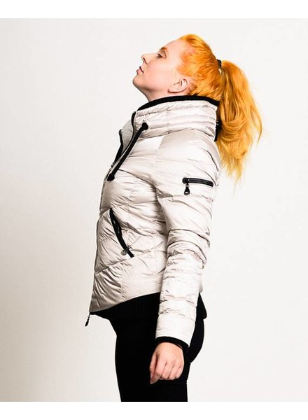 Women down jacket in silver white
