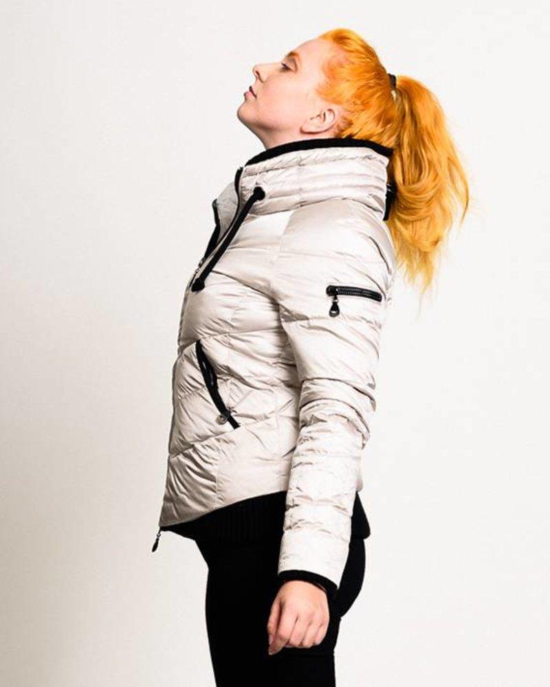BlarS Damen Daunen-Jacke in silber-weiß mit Kapuze