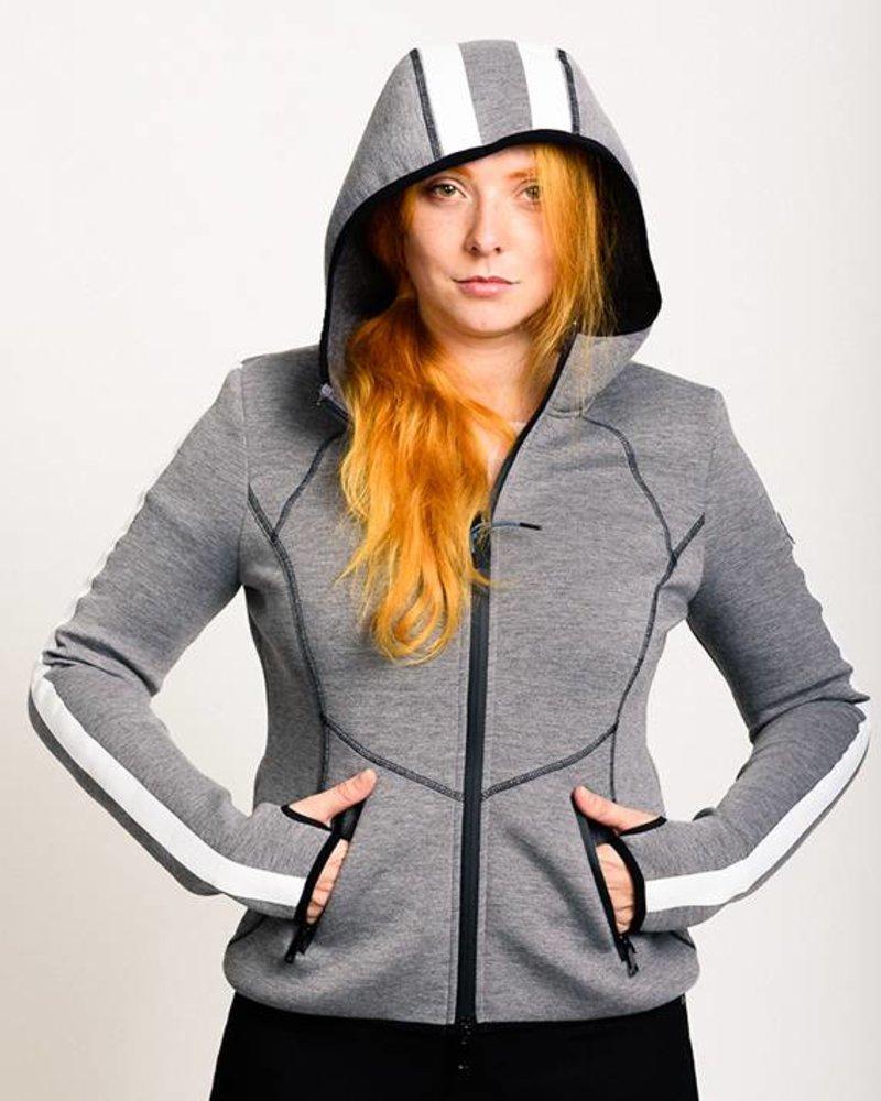 BlarS Damen Scuba-Hoody in grau mit weißem Streifen