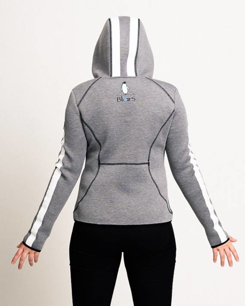 BlarS Women Scuba-Hoody in grey with white stripe
