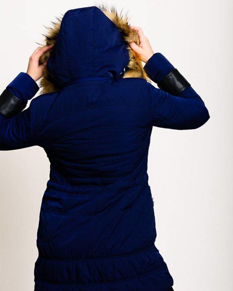 BlarS Women Winter Parka in blue with hood