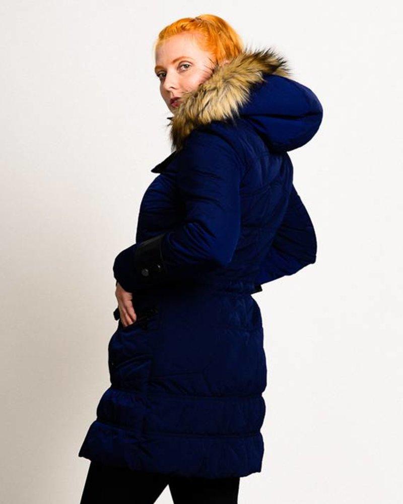 BlarS Damen Winter-Parka in blau mit Webpelzkapuze
