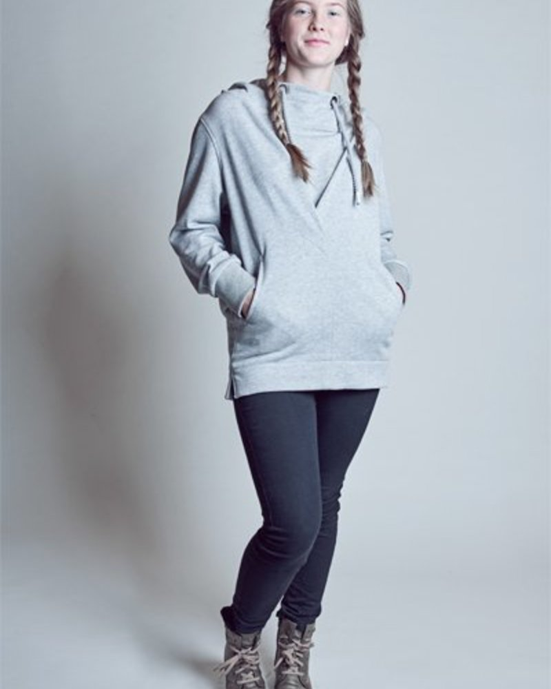 BlarS women hoody in grey sweatwear with mesh application