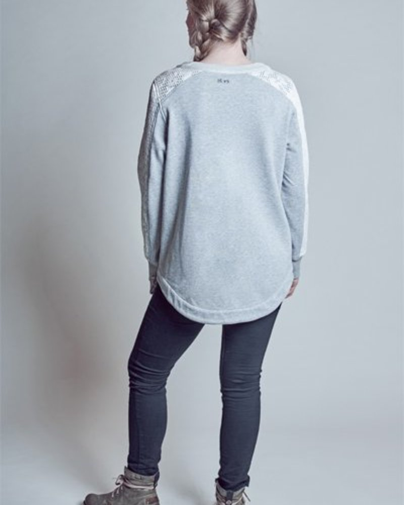 BlarS Women Sweater with floral mesh application in grey