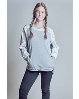 Grauer Damen Sweater mit Mesh-Applikation