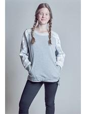 A N G E B O T !!! Grauer Damen Sweater mit Mesh-Applikation