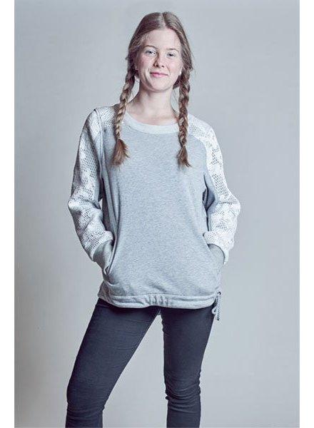 Grauer Damen Sweater mit Mesh-Applikation