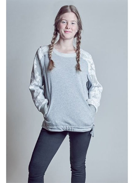 Grey Women Sweater with mesh application