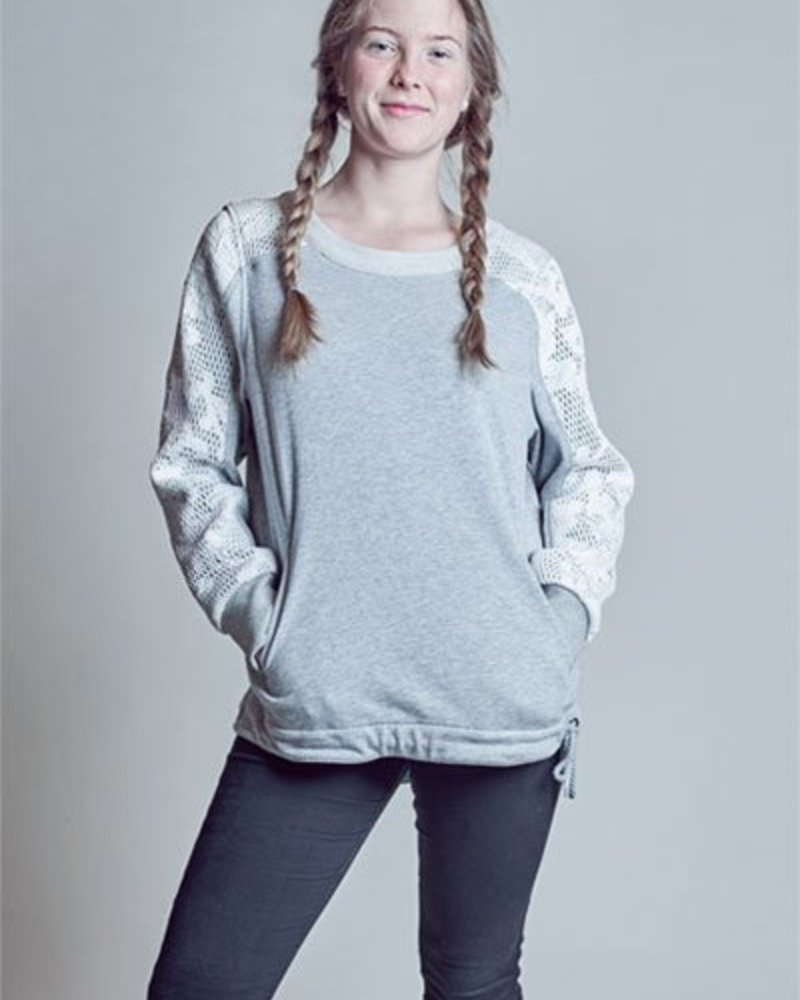 BlarS Damen Sweater mit Mesh und Blumen-Applikation in grau