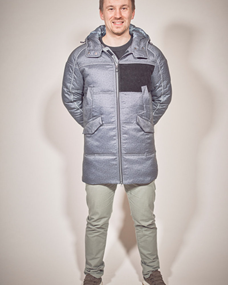 BlarS men winter jacket in color blue melange with reflecting details and velvet contrast