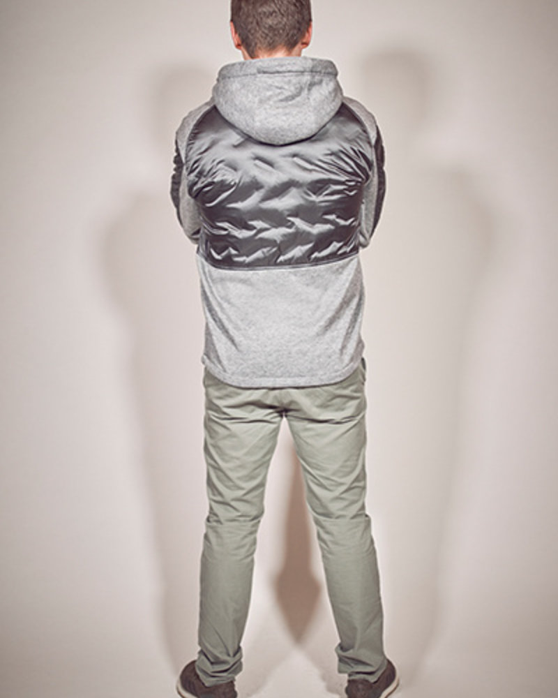 BlarS Men winter sweater in color grey melange with reflecting details