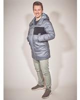 men winter jacket in color blue melange