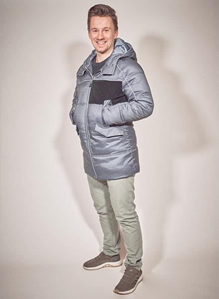 Herren-Winterjacke in Farbe blau melange