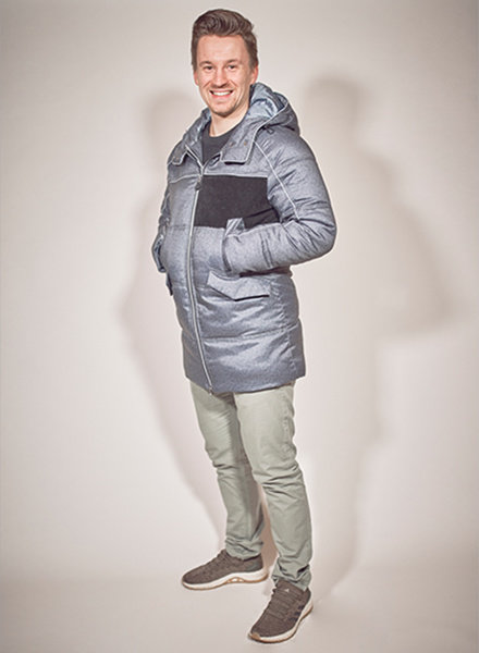 men winter jacket in color blue melange