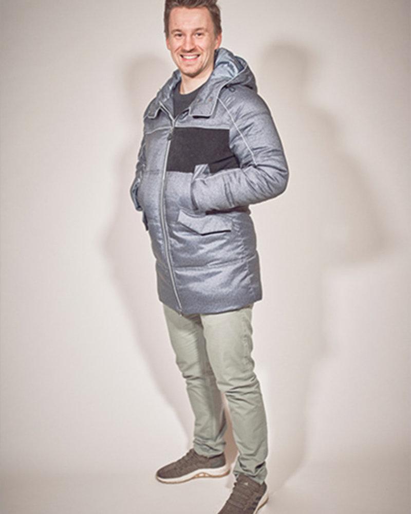 BlarS Herren-Winterjacke in Farbe blau melange mit reflektierenden Details und Velvet-Kontrast.
