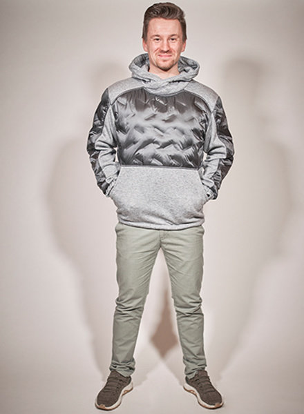 men winter sweater in color grey melange