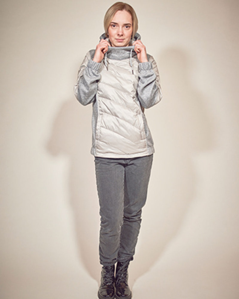 BlarS Ladies winter sweater in color grey melange with refecting details