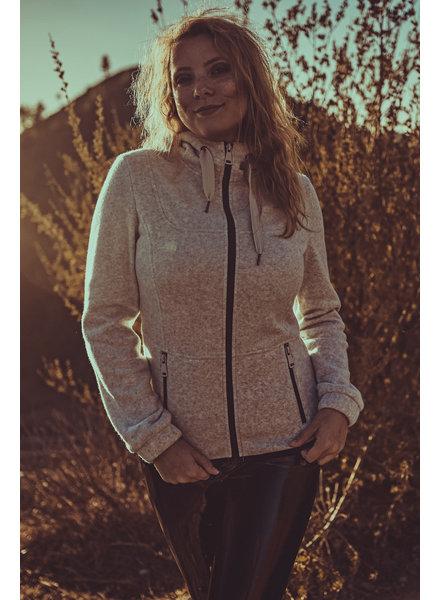 Damen Fleece -Cosy-Jacket in hell grau