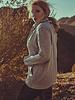 Women S W E A T E R in grey melange with stand up collar