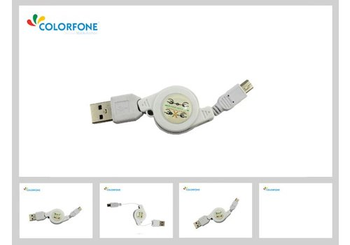 Colorfone Magic USB/Sync. Kabel Wit Mini USB