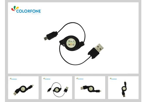 Colorfone Magic USB/Sync. Kabel Zwart Mini USB