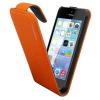 Case Leather1 for Apple iPhone 5C Classic Orange