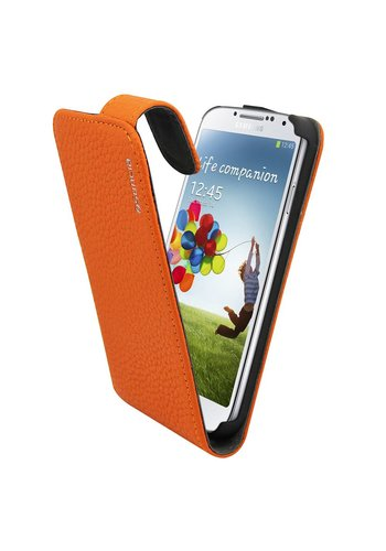 Suncia Leather1 i9500 Galaxy S4 Klassiek Oranje