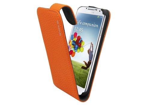 Suncia Leather1 i9500 Galaxy S4 Classic Orange