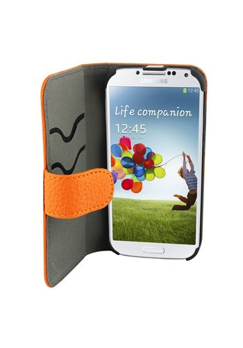 Suncia Leather2 i9500 Galaxy S4 Klassiek Oranje