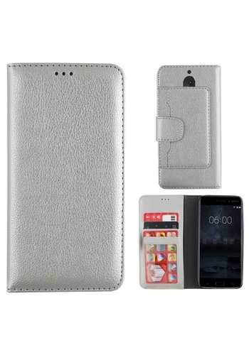Colorfone Wallet Case Nokia 5 Zilver