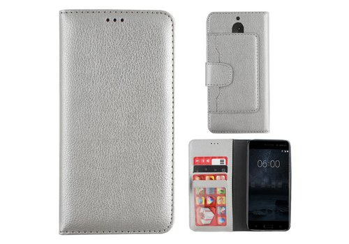 Colorfone Wallet Case Nokia 6 Zilver