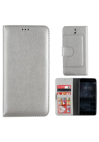 Colorfone Wallet Case Nokia 8 Zilver
