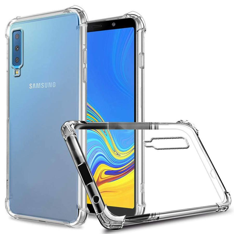 Backcover Shockproof TPU + PC voor Samsung A7 2018 Transparant
