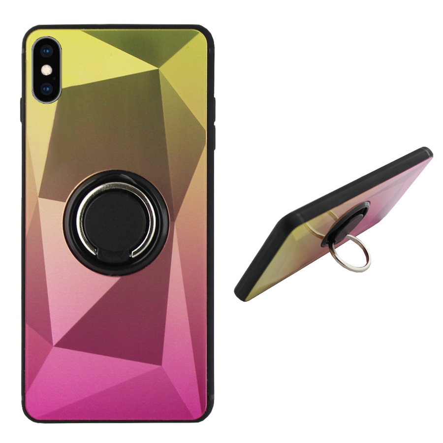 BackCover Ring Aurora für Apple iPhone Xs Gold + Pink