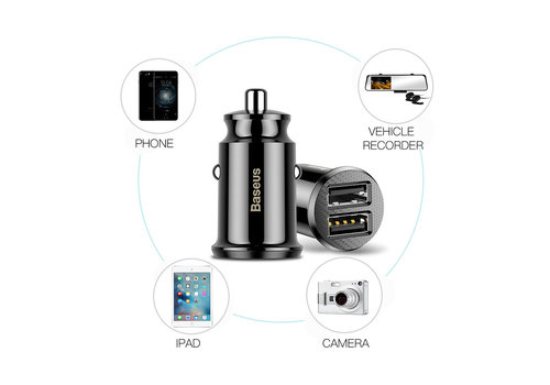 Baseus Grain Car Charger Zwart