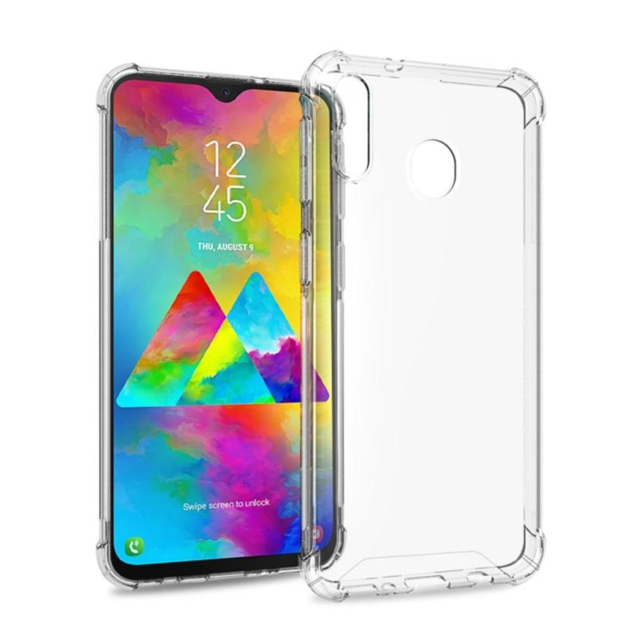 Backcover Anti-Shock TPU + PC voor Samsung M20 Transparant