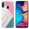 Colorfone BackCover Marble Glitter voor Samsung A40 Grijs