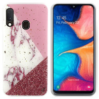 BackCover Marble Glitter voor Samsung A40 Wit