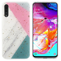 BackCover Marble Glitter voor Samsung A70 Grijs