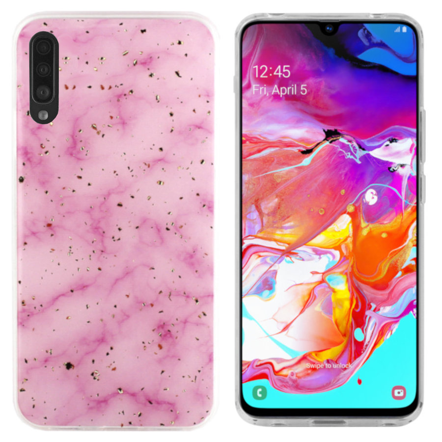 BackCover Marble Glitter voor Samsung A70 Roze