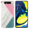 Colorfone BackCover Marble Glitter voor Samsung A80/A90 Roze